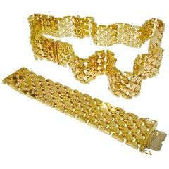 Wide Flexible Gold Bracelet and Matching Gold Belt, circa 1965