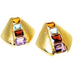 Multi Stone Gold Earrings