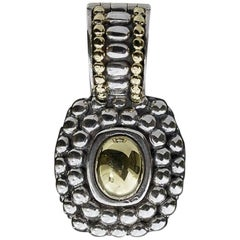 Lagos Caviar Cushion Gold Dome Silver and Gold Enhancer Pendant