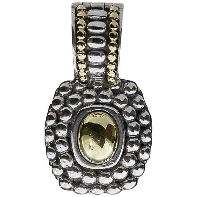 Lagos Caviar Cushion Gold Dome Silver and Gold Enhancer Pendant