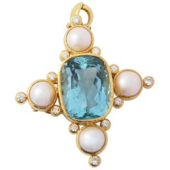 Elizabeth Locke Diamond Pearl Aquamarine Pendant Pin