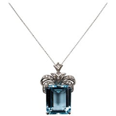 1950s Aqua Diamond Pendant