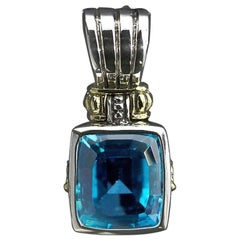 Retired Lagos Blue Topaz Glacier Now Silver and Gold Enhancer Pendant