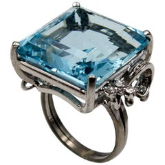 1950s Aqua Diamond Cocktail Ring