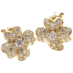 Van Cleef & Arpels Cosmos Diamond Flower Yellow Gold Earrings