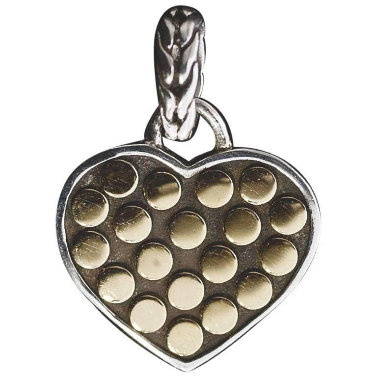 Retired John Hardy Jaisalmer Dot Silver and Gold Heart Pendant