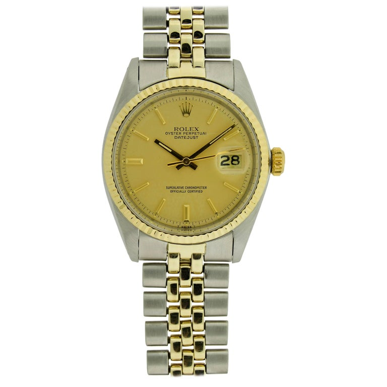 Rolex Yellow Gold Stainless Steel Datejust with Original Papers, circa 1979 For Sale