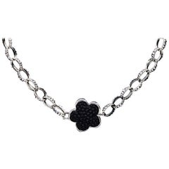 Lagos Caviar Black Onyx Flower Station Love Me Sterling Silver Necklace