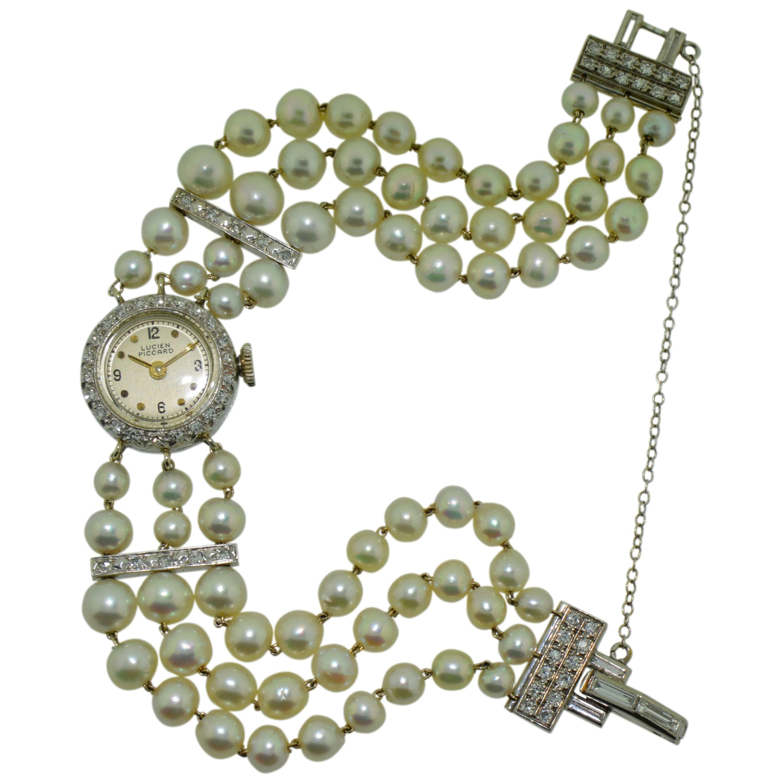 Lucien Piccard Ladies Platinum Diamond Pearl Dress Manual Watch, 1940s