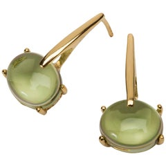 18 Karat Rose Gold Vermeil Green Peridot Quartz, Gold Drop Long Modern Earrings