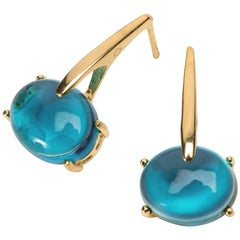 18 Karat Gold London Blue Vermeil Quartz, Sardinia Drop Long Modern Earrings