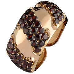 Cuff Rose Gold and Garnets