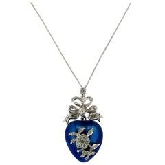 Enamel White Gold Diamonds Pendent Necklace