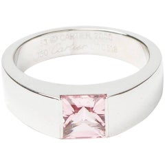Cartier Ring Tank White 750 Gold and Pink Tourmaline