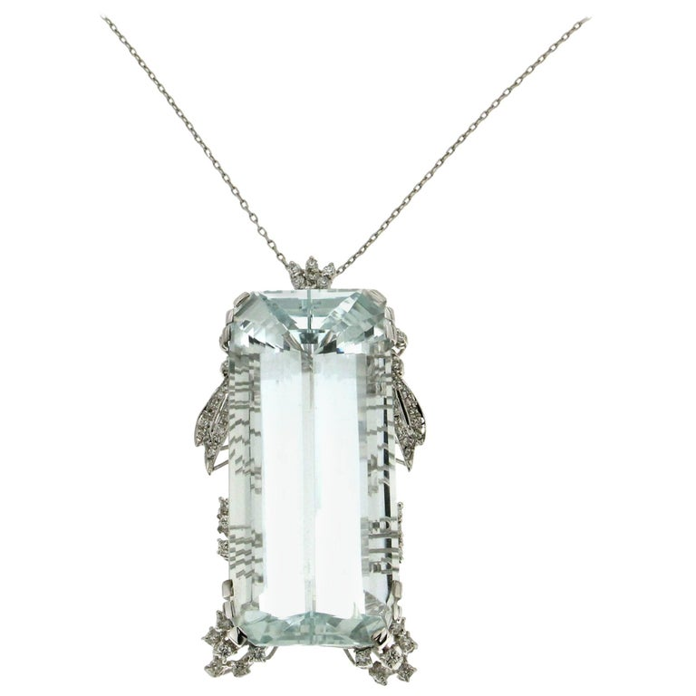 Aquamarine White Gold Diamonds Pendant Necklace