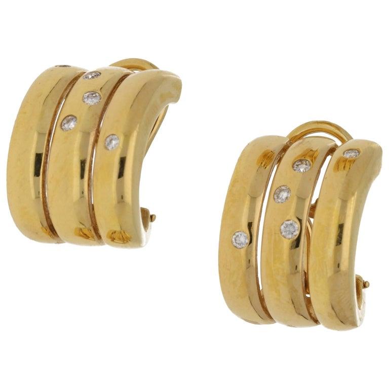 18 Carat Gold Diamond Tri Row Hoop Earrings