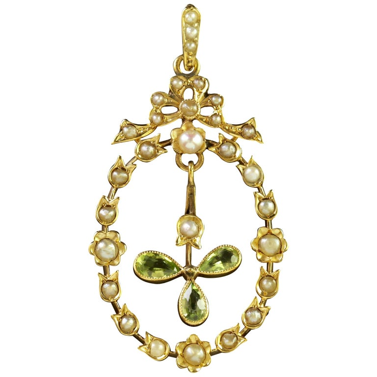 Antique Edwardian Peridot Pearl Pendant 18 Carat Gold