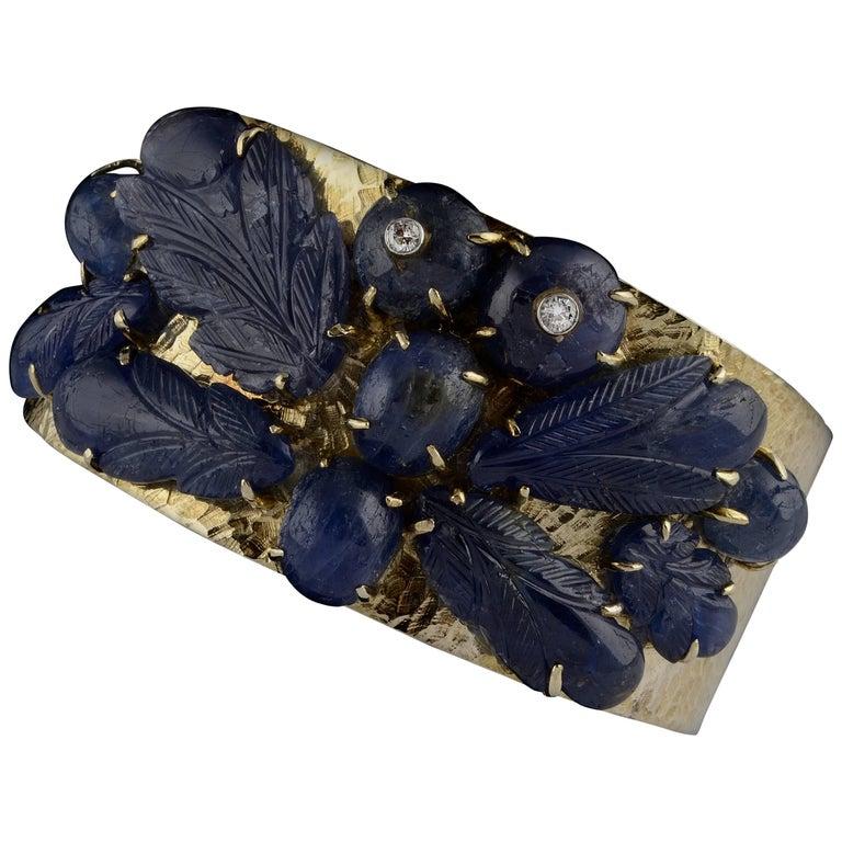 Cuff Sapphires Yellow Gold and Diamonds, circa 1970