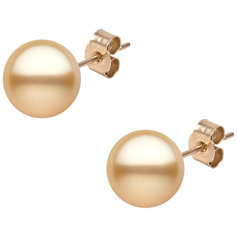 Yoko London 9.5mm Golden South Sea Pearl Earring Studs set in 18K Yellow Gold For Sale