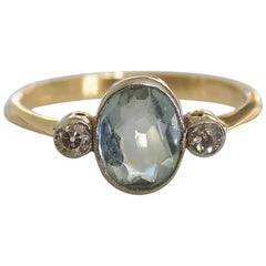 Edwardian Gold Aquamarine Diamond Ring