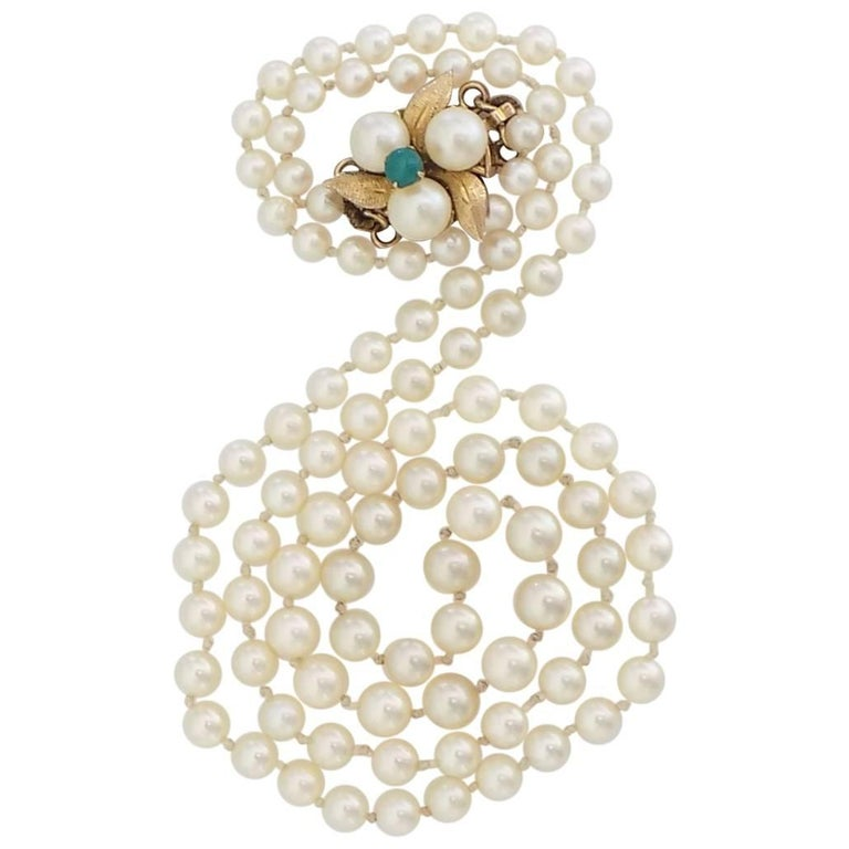 Vintage Gold Cultured Pearl Turquoise Necklace
