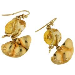 La Squadra 18 Carat Gold Citrine Snake Earrings