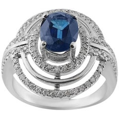 White Gold 1.73 ct Sapphire and Brilliant Cut 0.49 ct Diamonds Ring