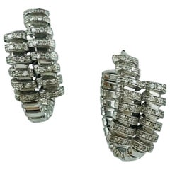 Carlo Weingrill White Gold and Diamonds Hoop Pair of Earrings