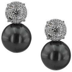 White Gold Tahiti Sea Pearl with Brilliant Cut 1.00 ct Diamonds Earrings