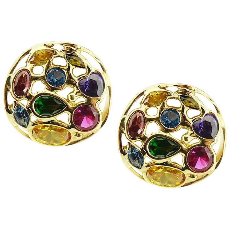 Yellow Gold Round with Multicolored Stones Earrings