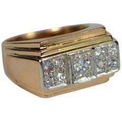 1935 Art Deco Diamond Rose Gold Platinum Ring
