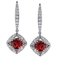 Cushion Ruby and Diamond Platinum Drop Earrings