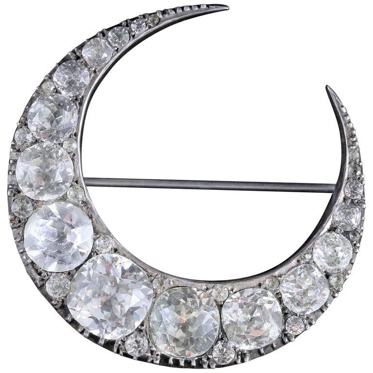 Antique Victorian Silver Crescent Moon Paste Brooch, circa 1860