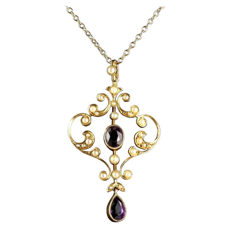Antique Victorian Amethyst Pendant and Chain 15 Carat Gold