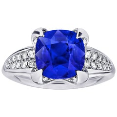 3.21 Carat Cushion Blue Sapphire and Diamond Platinum Ring