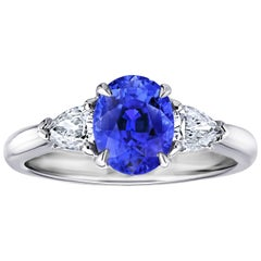 David Gross Group 2.16 Carat Oval Blue Sapphire and Diamond Platinum Ring