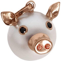 Pig Diamond Sapphire Gold Pearl Pendant