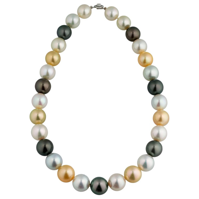 Multi-Color South Sea Pearl Necklace For Sale