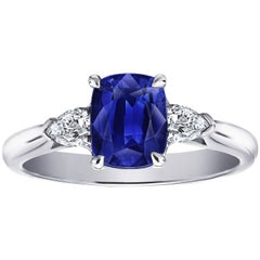 1.88 Carat Cushion Blue Sapphire and Diamond Platinum Ring with GRS Report