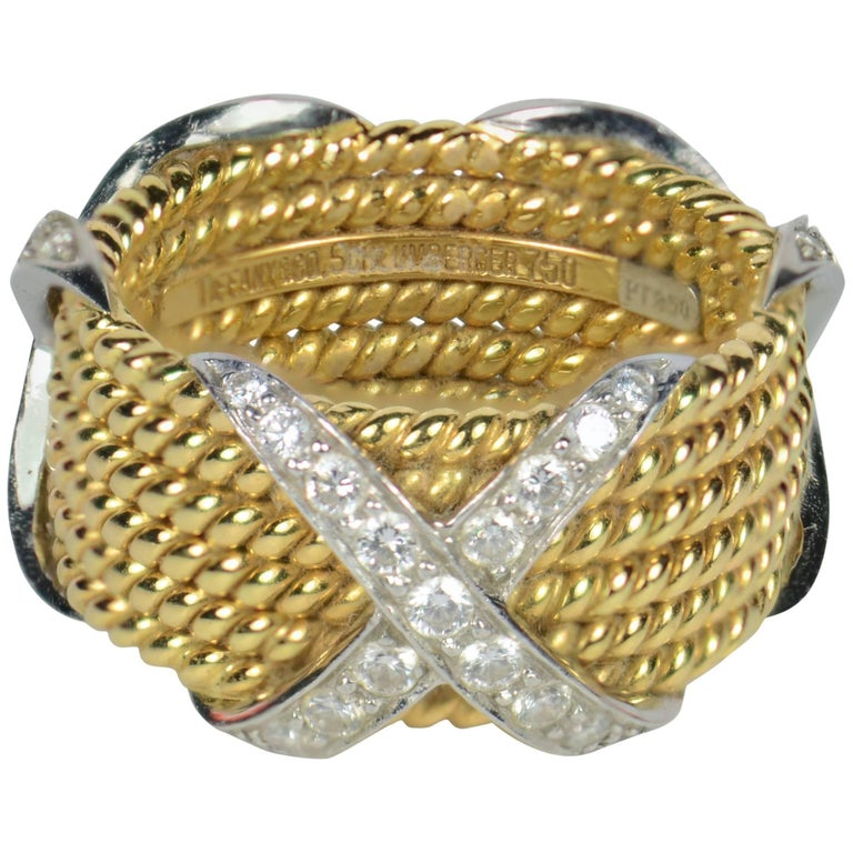 Tiffany & Co. Schlumberger Five-Row Diamond Yellow Gold Platinum Band Ring