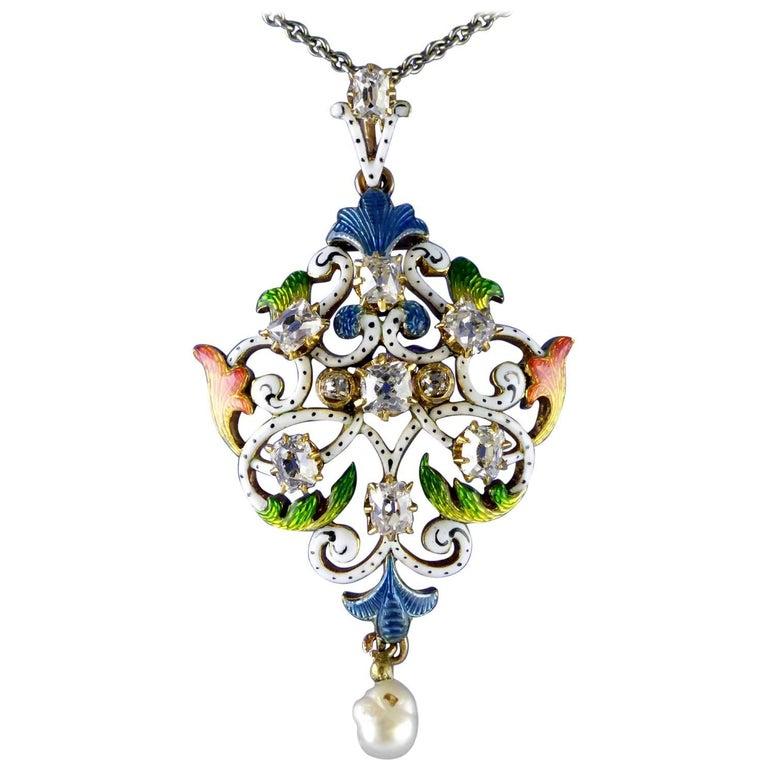 Art Nouveau Guilloché Enamel, Diamond, Pearl, Pendant circa 1900