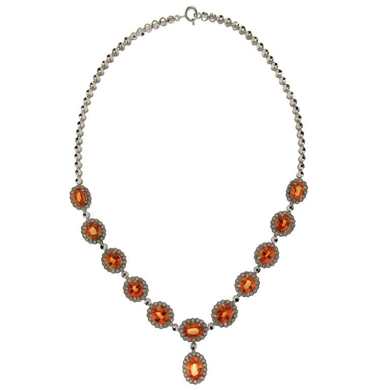 Spessonite Garnet Natural White Gold Diamonds Necklace