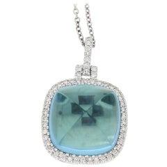 18 Carat Gold Blue Topaz Diamond Pendant