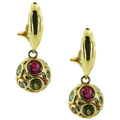 Yellow Gold Ball with Multi-Colored Stones Earrings