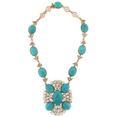 Turquoise Yellow Gold Diamonds, Aquamarine Necklace