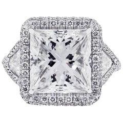 GIA Certified 5.73 Carat Princess Cut Engagement Ring
