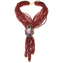 Sardinia Coral Yellow Gold 18 Karat Diamond, Amethyst Necklace