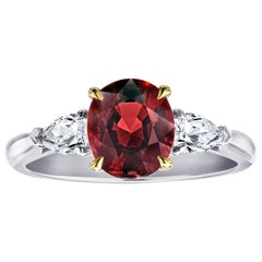 2.10 Carat Oval Red Spinel and Diamond Platinum Ring