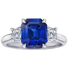 3.86 Carat Emerald Cut Blue Sapphire Platinum Ring
