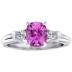 Group 1.78 Carat Cushion Pink Sapphire and Diamond Platinum Ring